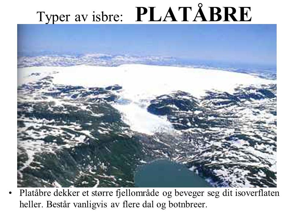 Typer av isbre: PLATÅBRE