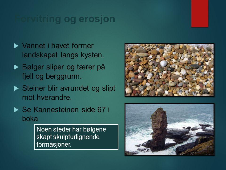 Forvitring og erosjon Vannet i havet former landskapet langs kysten.