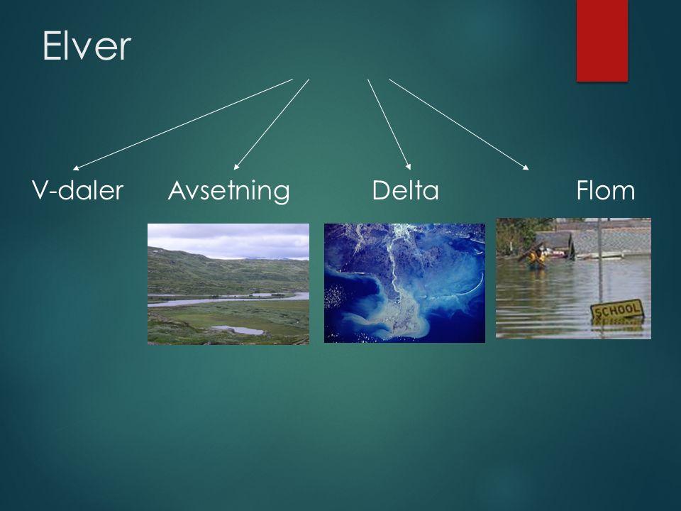 Elver V-daler Avsetning Delta Flom
