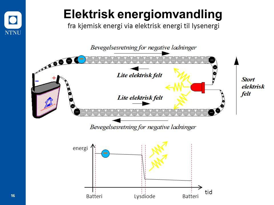 fra kjemisk energi via elektrisk energi til lysenergi