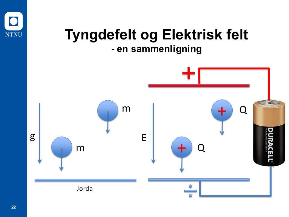 Tyngdefelt og Elektrisk felt - en sammenligning