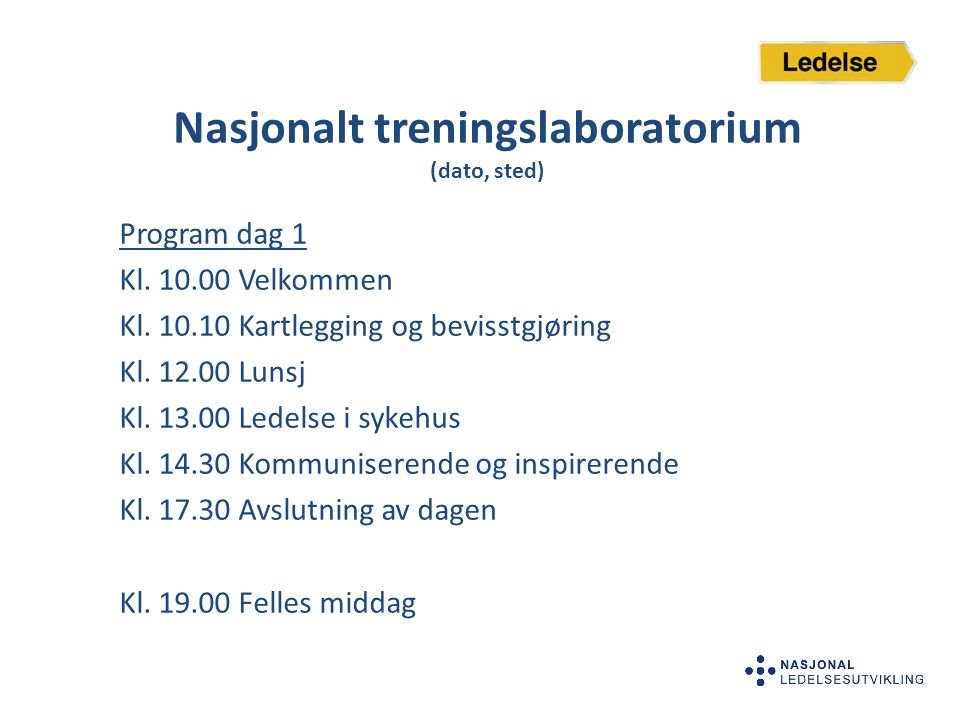 Nasjonalt treningslaboratorium (dato, sted)