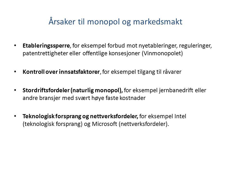 Årsaker til monopol og markedsmakt