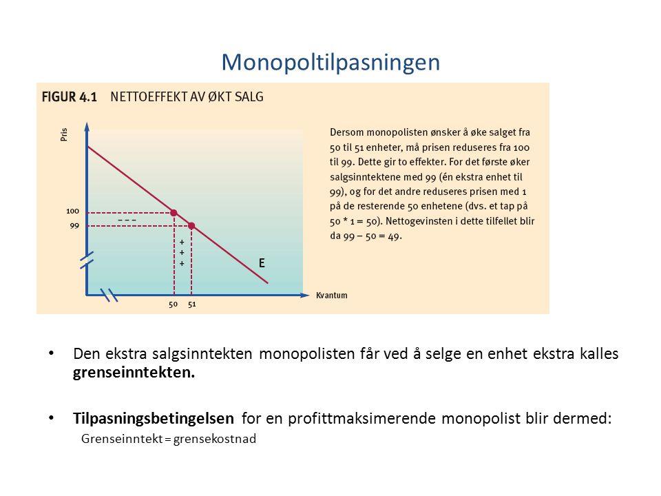 Monopoltilpasningen Den ekstra salgsinntekten monopolisten får ved å selge en enhet ekstra kalles grenseinntekten.