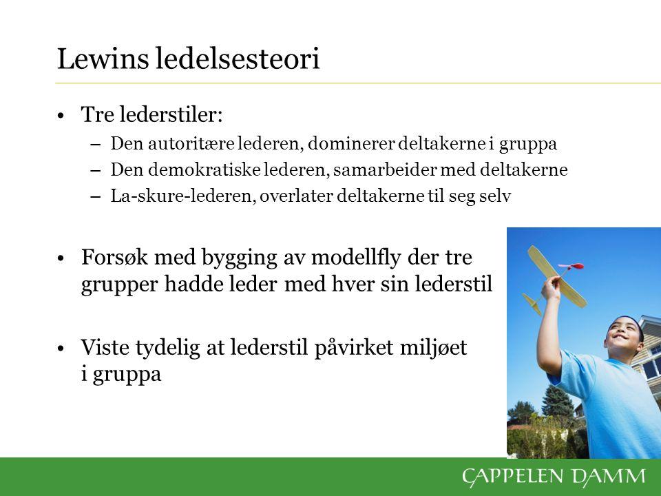 Lewins ledelsesteori Tre lederstiler: