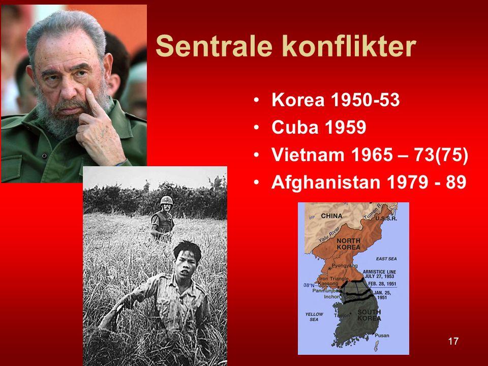 Sentrale konflikter Korea 1950-53 Cuba 1959 Vietnam 1965 – 73(75)