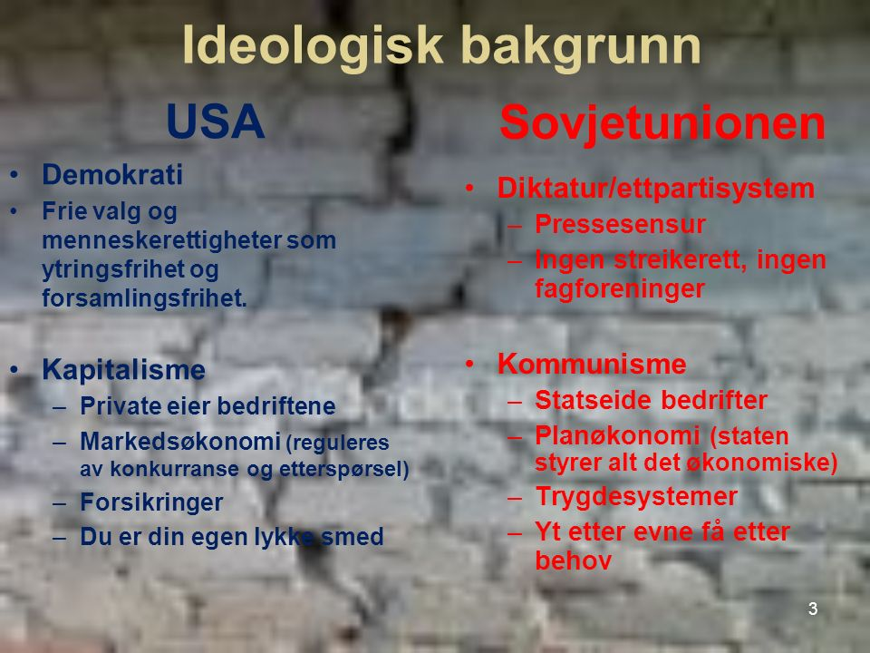 Ideologisk bakgrunn USA Sovjetunionen Demokrati