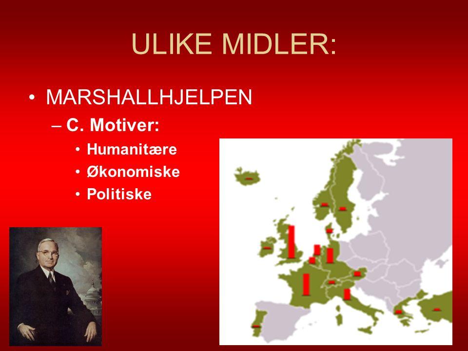 ULIKE MIDLER: MARSHALLHJELPEN C. Motiver: Humanitære Økonomiske