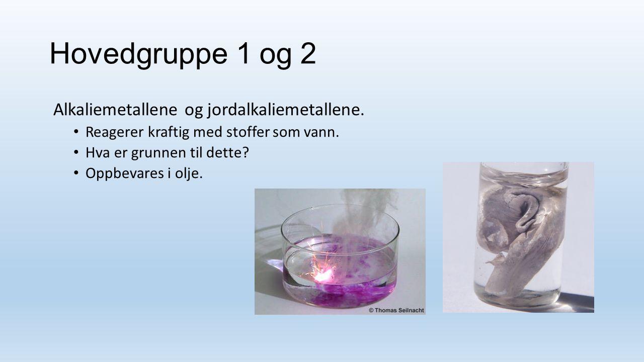 Hovedgruppe 1 og 2 Alkaliemetallene og jordalkaliemetallene.