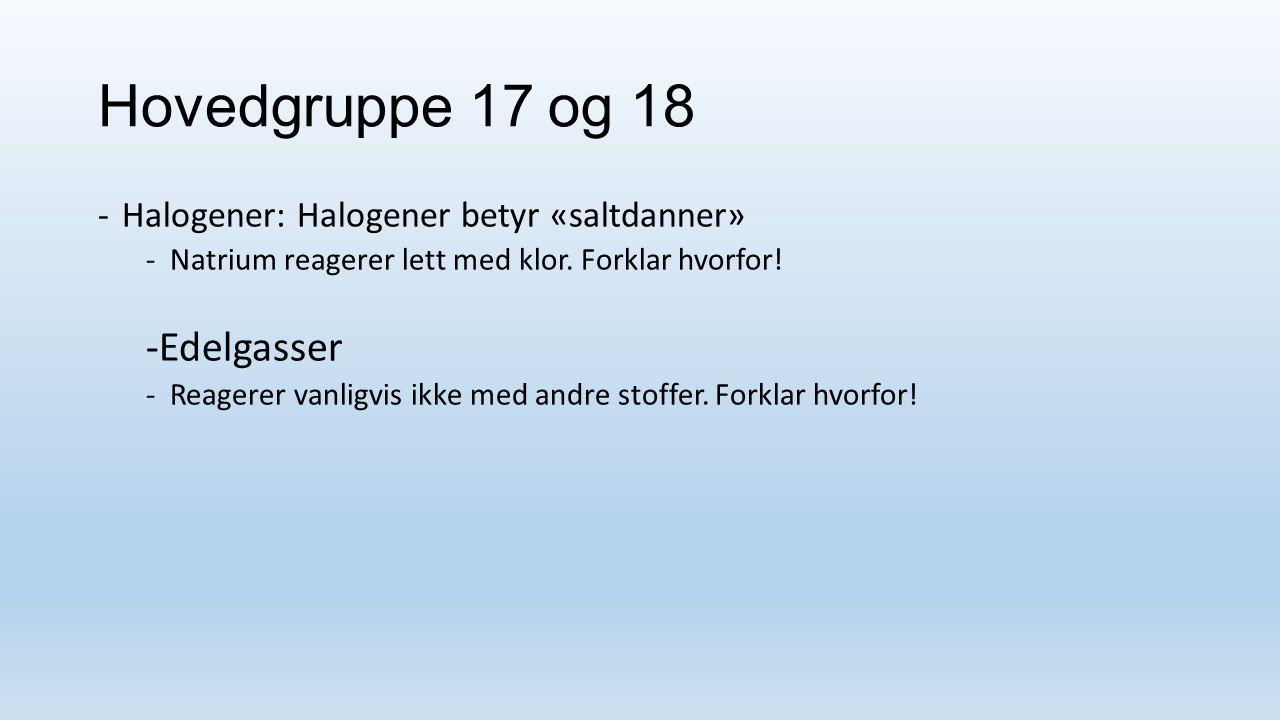 Hovedgruppe 17 og 18 -Edelgasser