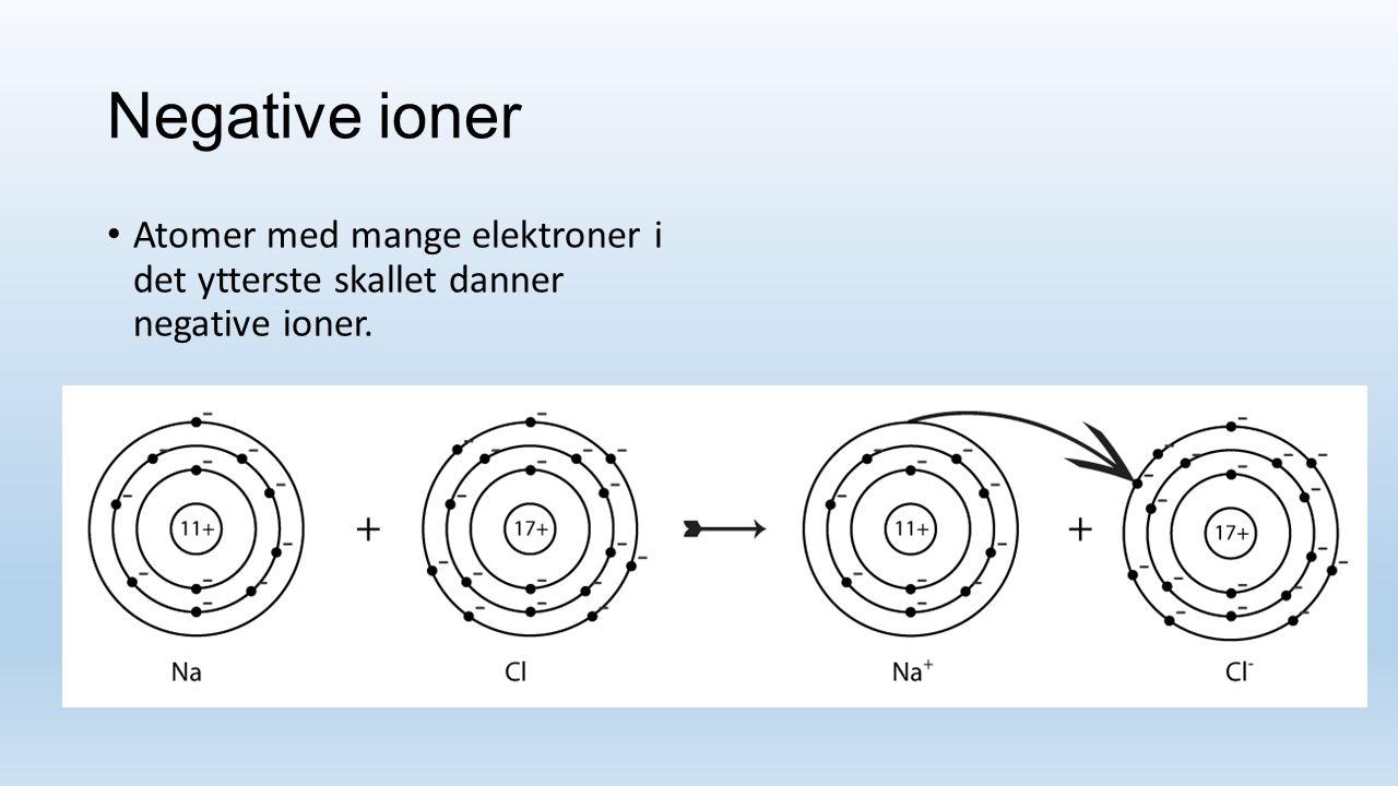 Negative ioner Atomer med mange elektroner i det ytterste skallet danner negative ioner.