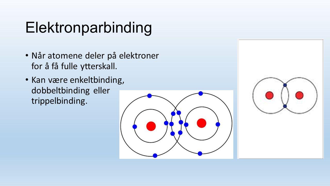 Elektronparbinding Når atomene deler på elektroner for å få fulle ytterskall.