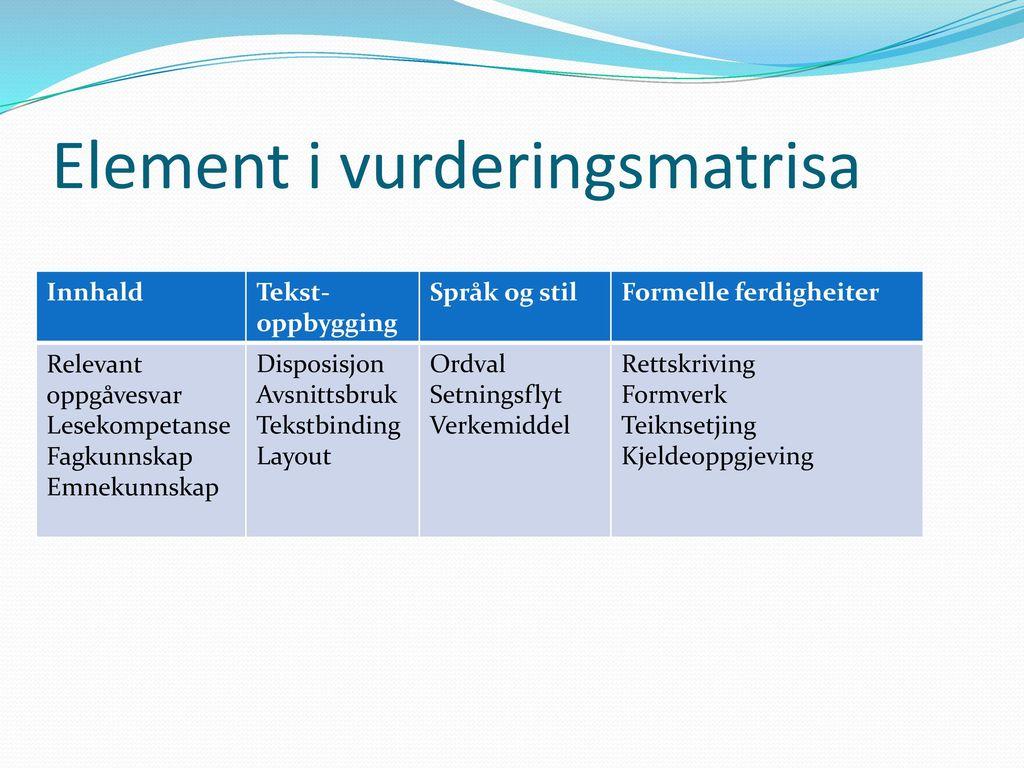 Element i vurderingsmatrisa