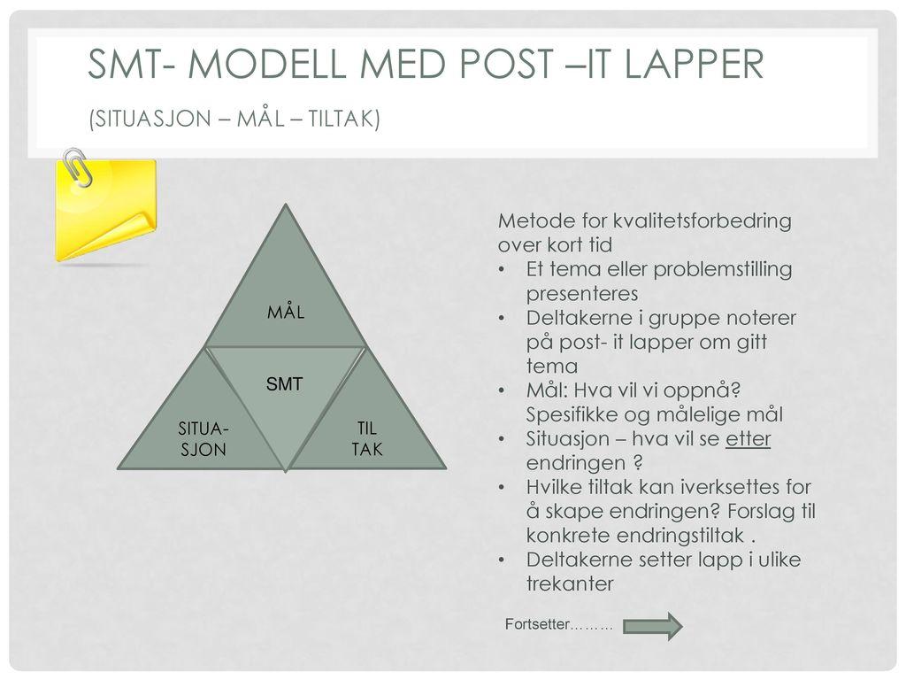 SMT- modell med post –it lapper (situasjon – mål – tiltak)
