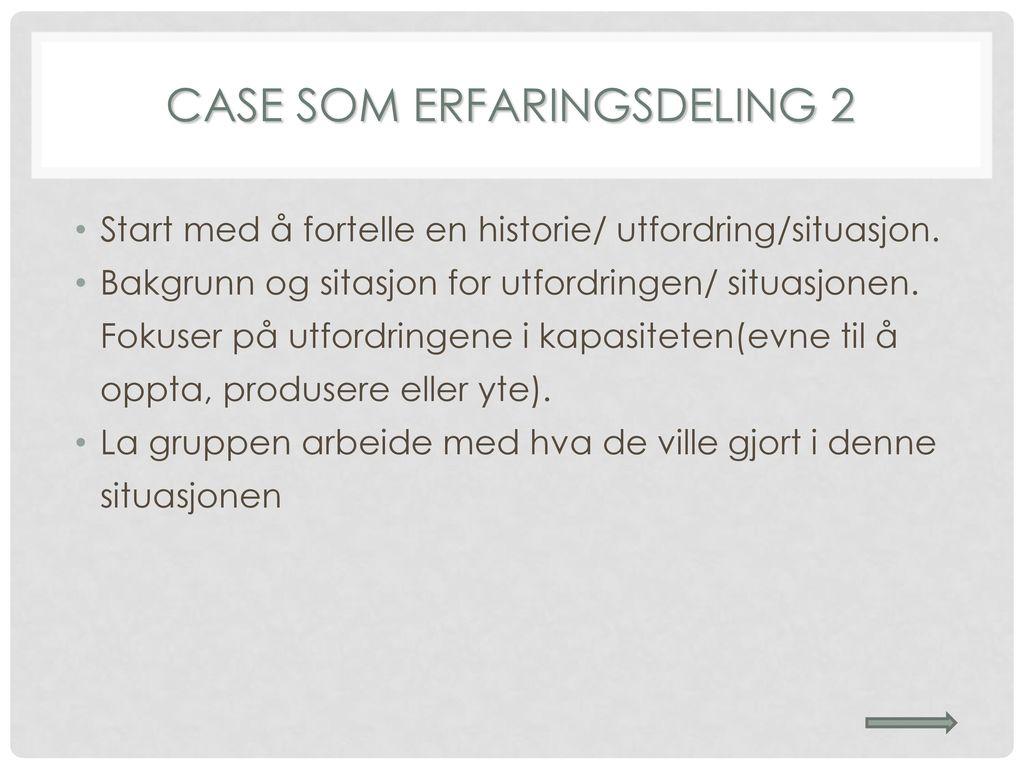 CASE SOM ERFARINGSDELING 2