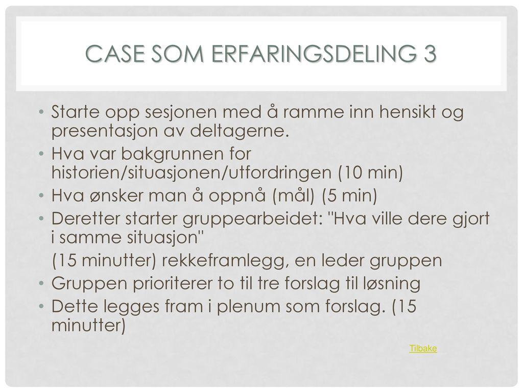 CASE SOM ERFARINGSDELING 3