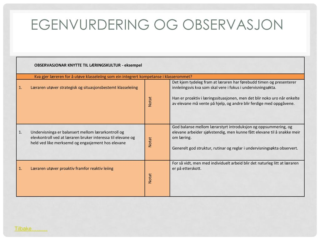 Egenvurdering og Observasjon
