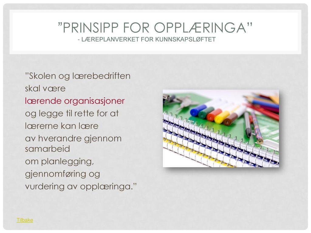 Prinsipp for opplæringa - Læreplanverket for Kunnskapsløftet