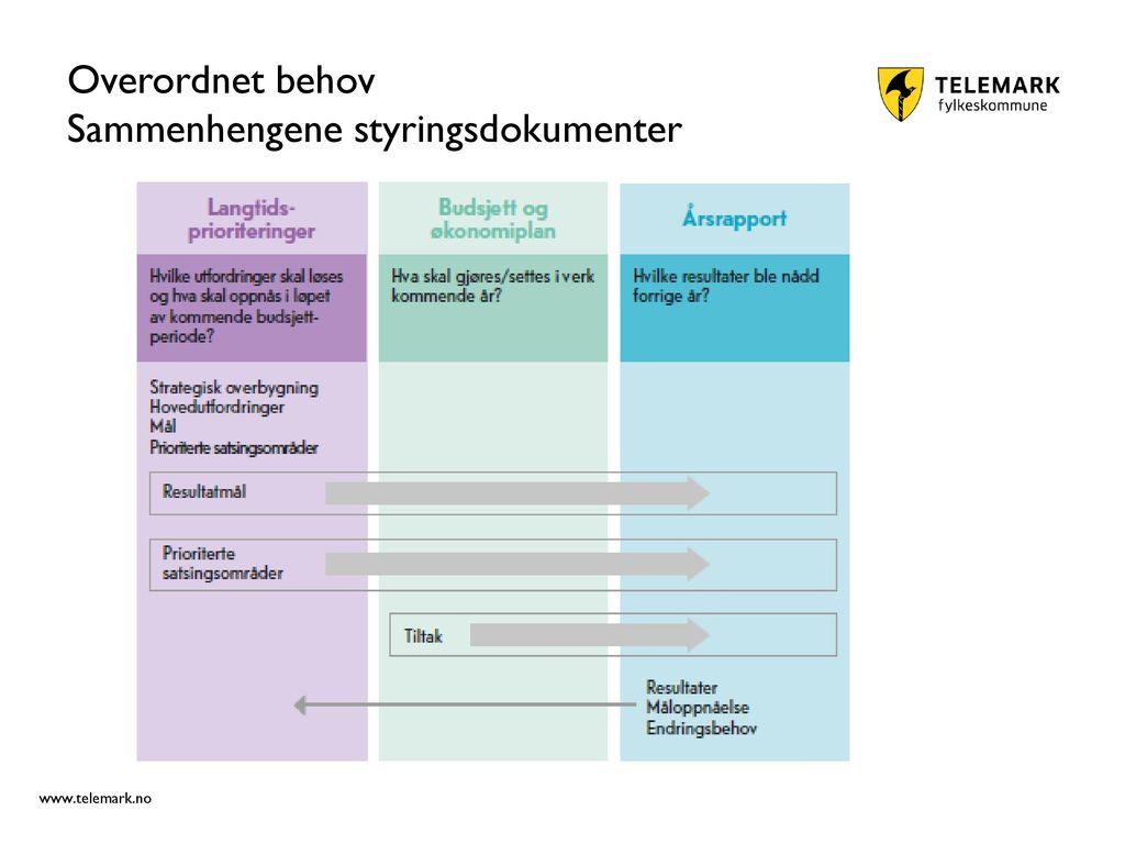 Overordnet behov Sammenhengene styringsdokumenter