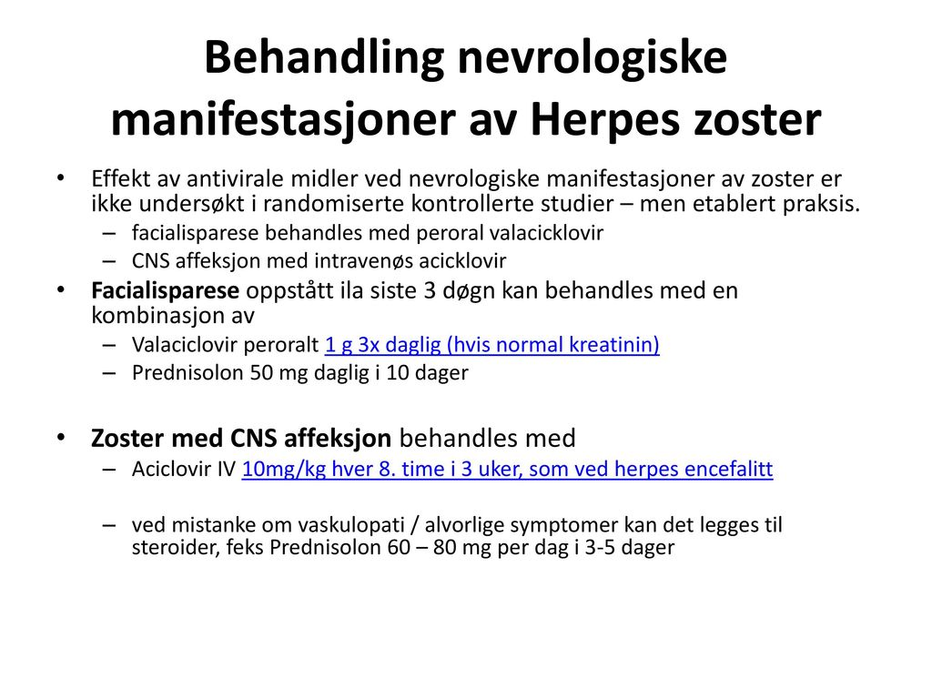 herpes zoster behandling