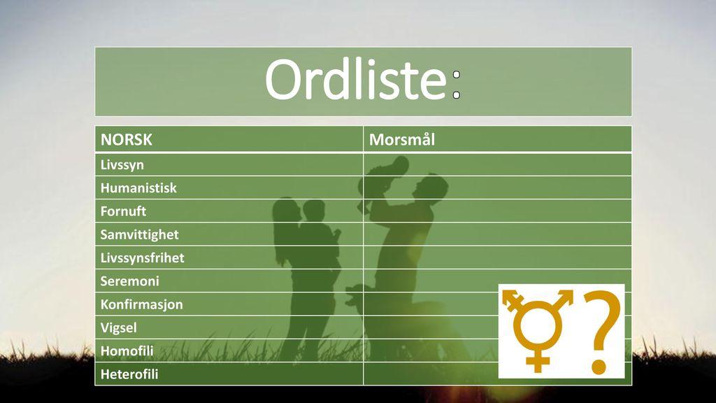 Ordliste: NORSK Morsmål Livssyn Humanistisk Fornuft Samvittighet