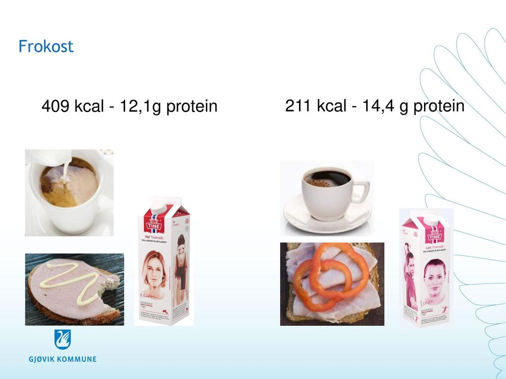 Frokost 409 kcal - 12,1g protein 211 kcal - 14,4 g protein