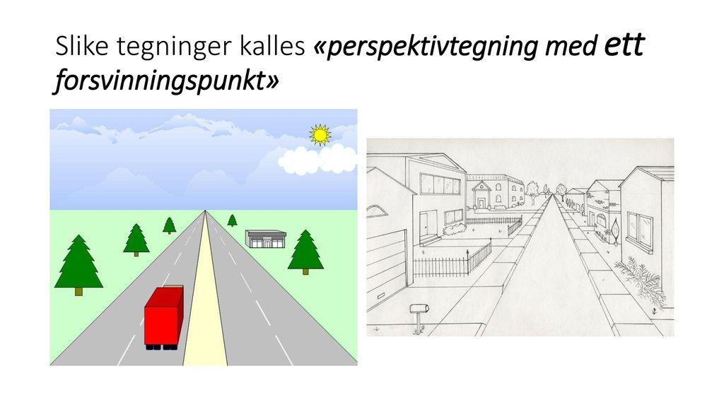 Slike tegninger kalles «perspektivtegning med ett forsvinningspunkt»
