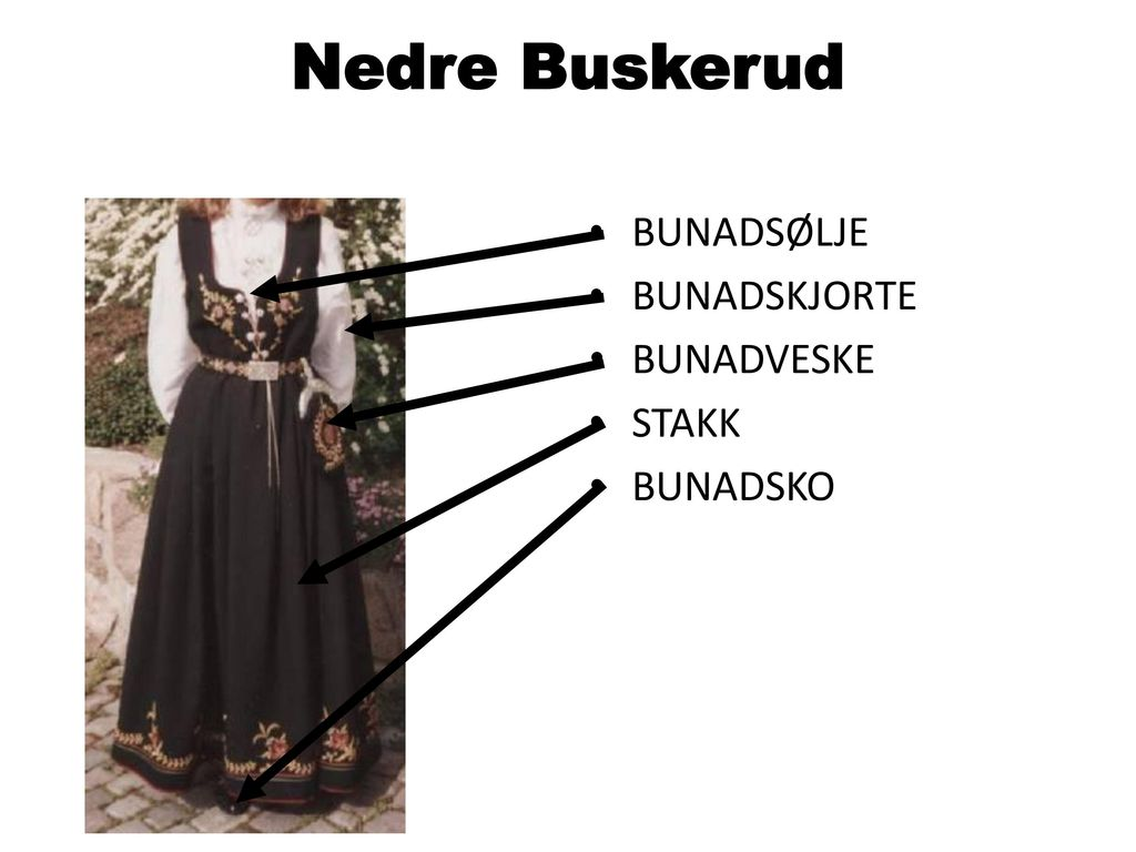 Nedre Buskerud BUNADSØLJE BUNADSKJORTE BUNADVESKE STAKK BUNADSKO