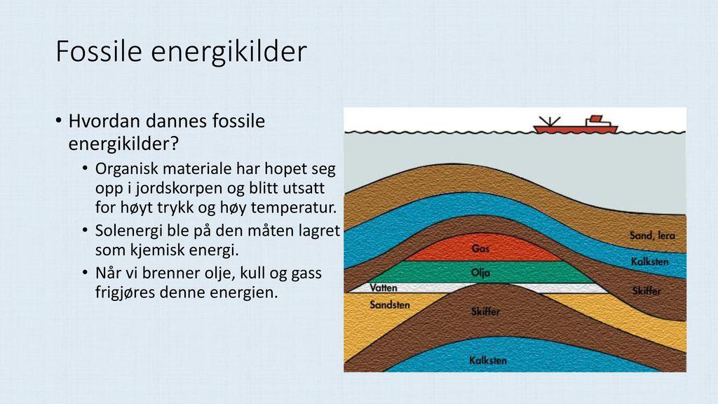 Fossile energikilder Hvordan dannes fossile energikilder