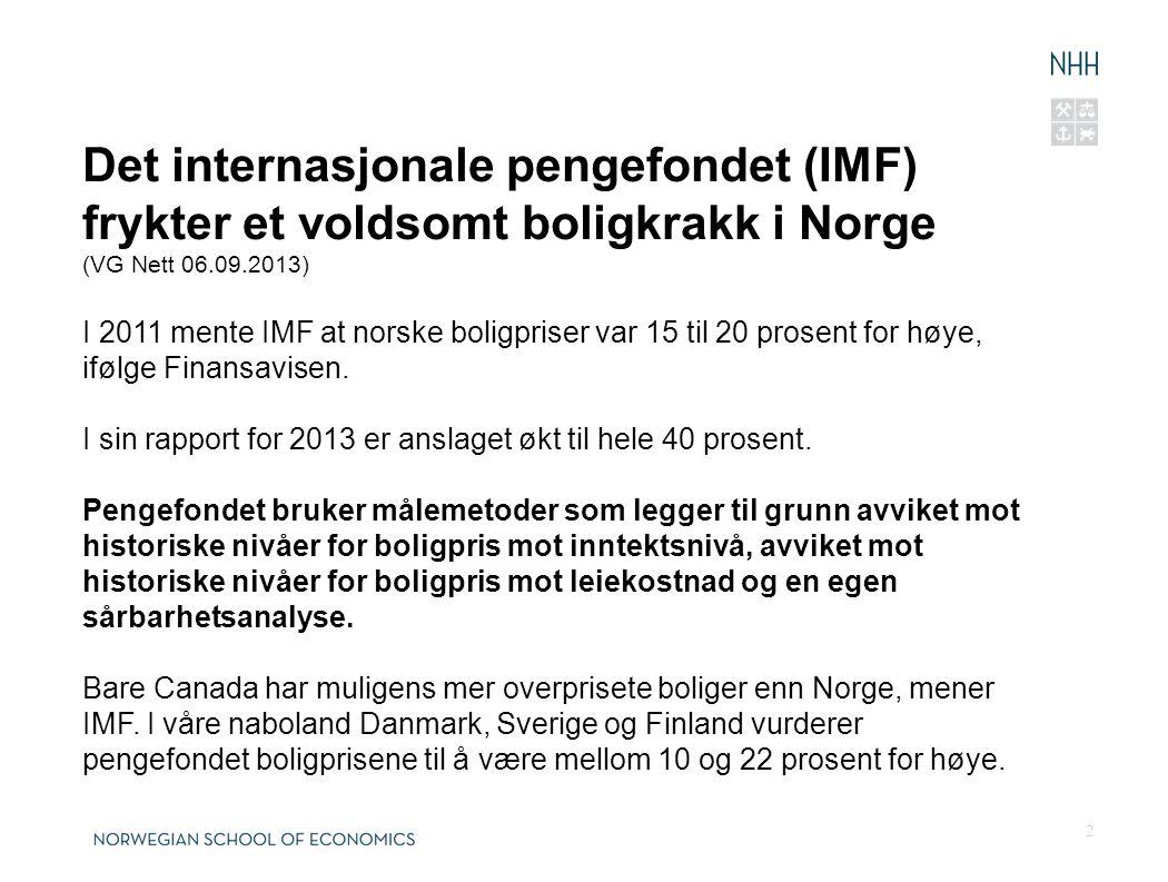 Det internasjonale pengefondet (IMF) frykter et voldsomt boligkrakk i Norge