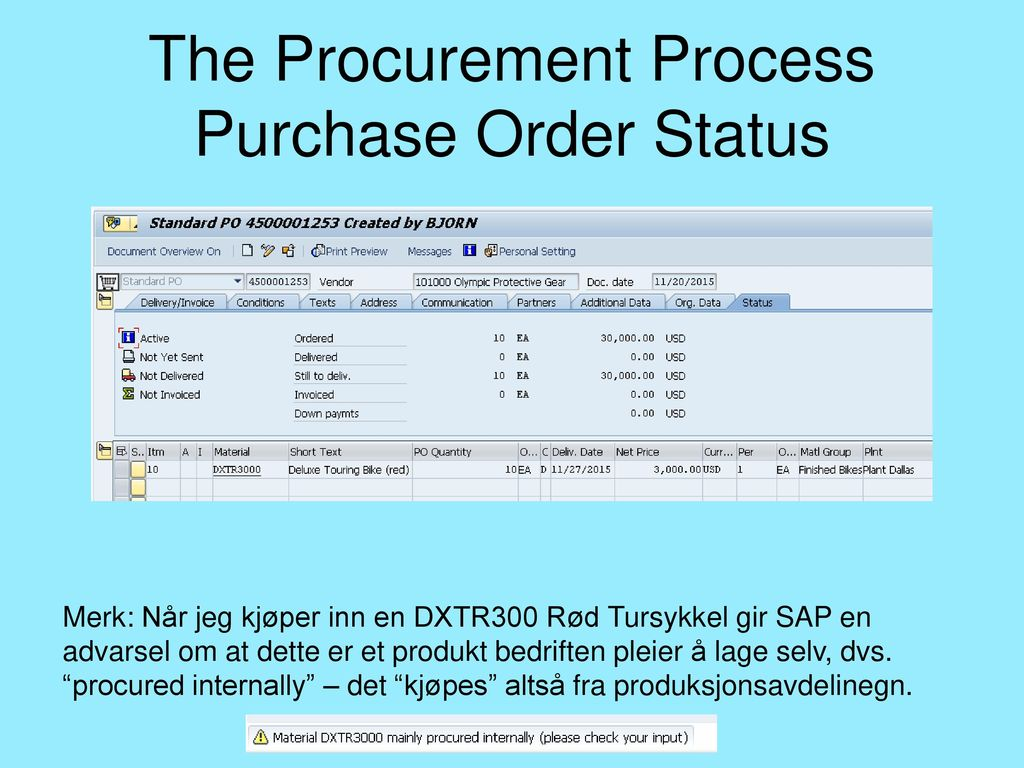 The Procurement Process Purchase Order Status