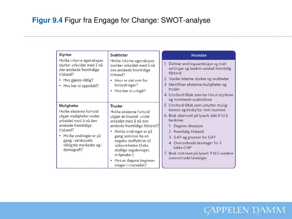 Figur 9.4 Figur fra Engage for Change: SWOT-analyse