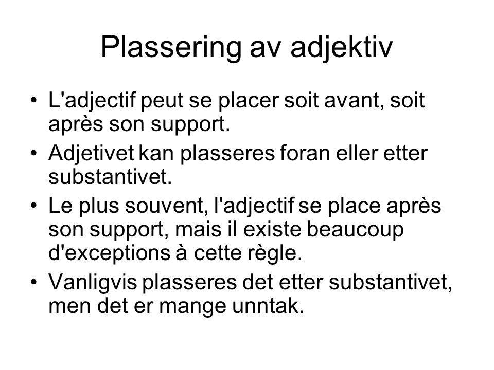 Plassering av adjektiv