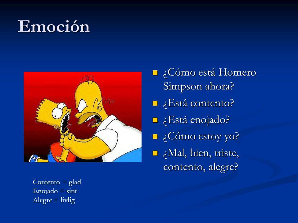 Emoción ¿Cómo está Homero Simpson ahora ¿Está contento