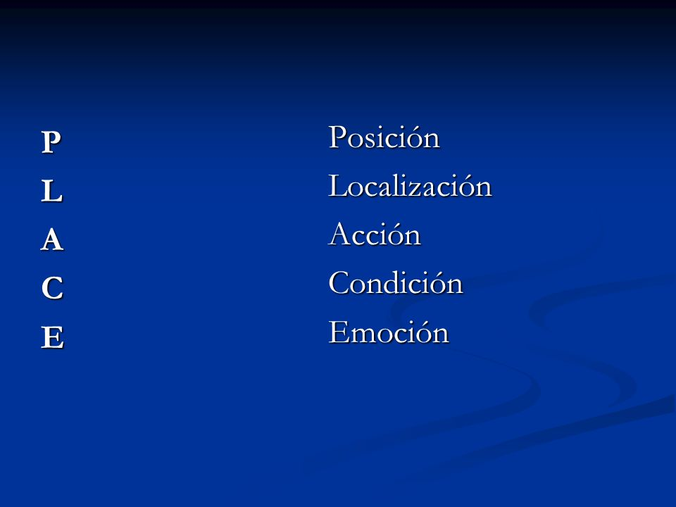 Posición Localización Acción Condición Emoción P L A C E