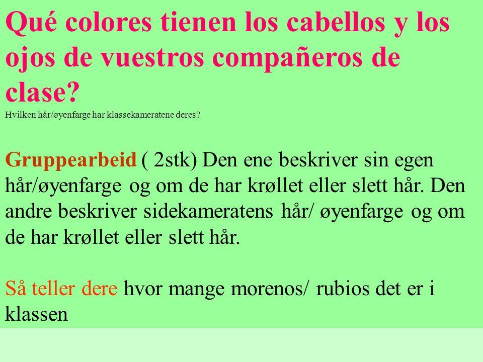 Qué colores tienen los cabellos y los ojos de vuestros compañeros de clase Hvilken hår/øyenfarge har klassekameratene deres