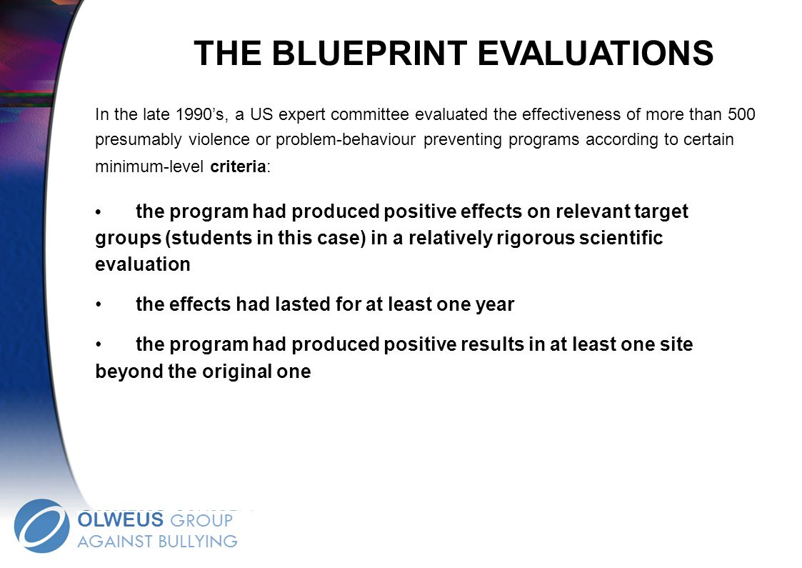 THE BLUEPRINT EVALUATIONS