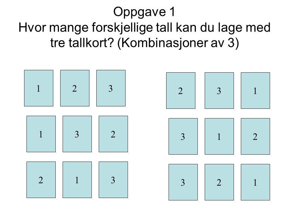 Oppgave 1 Hvor mange forskjellige tall kan du lage med tre tallkort
