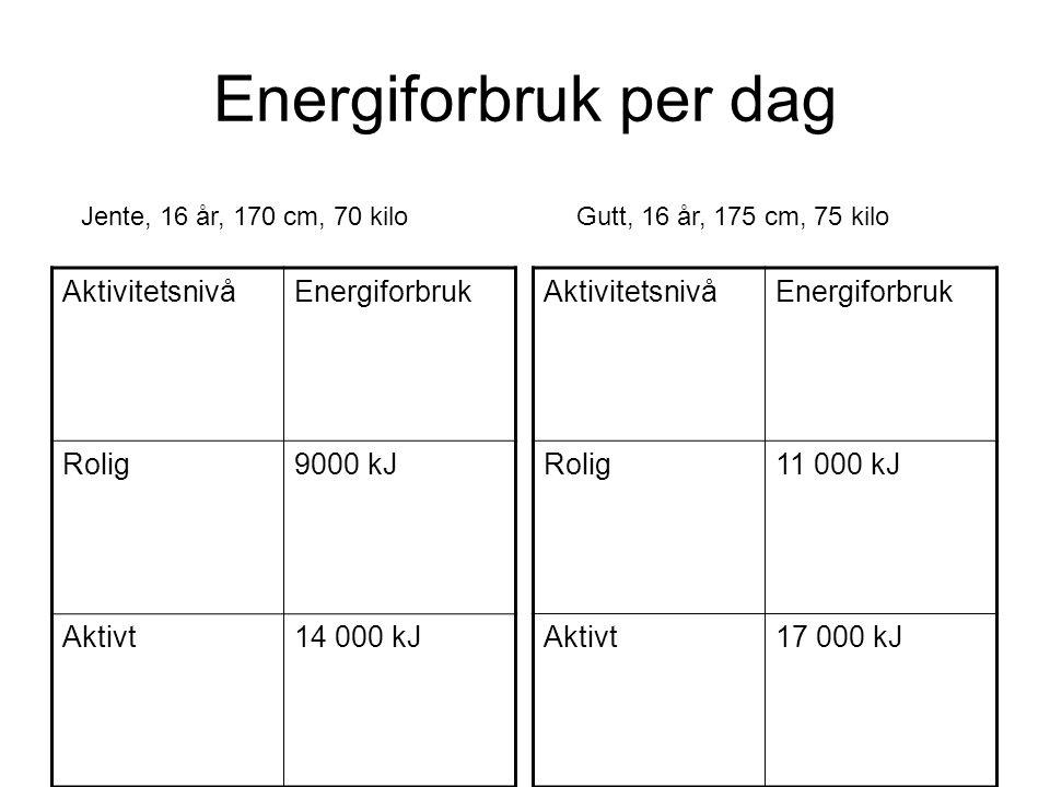 Energiforbruk per dag Aktivitetsnivå Energiforbruk Rolig 9000 kJ