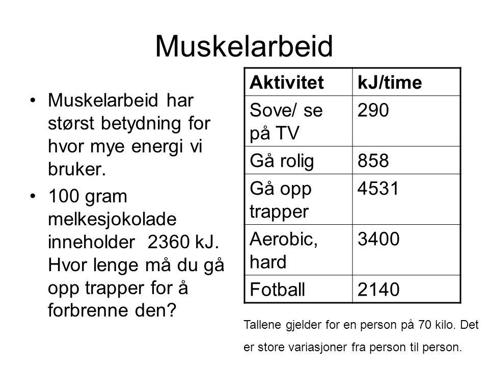 Muskelarbeid Aktivitet kJ/time Sove/ se på TV 290 Gå rolig 858