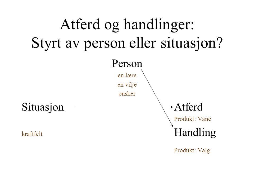 Atferd og handlinger: Styrt av person eller situasjon
