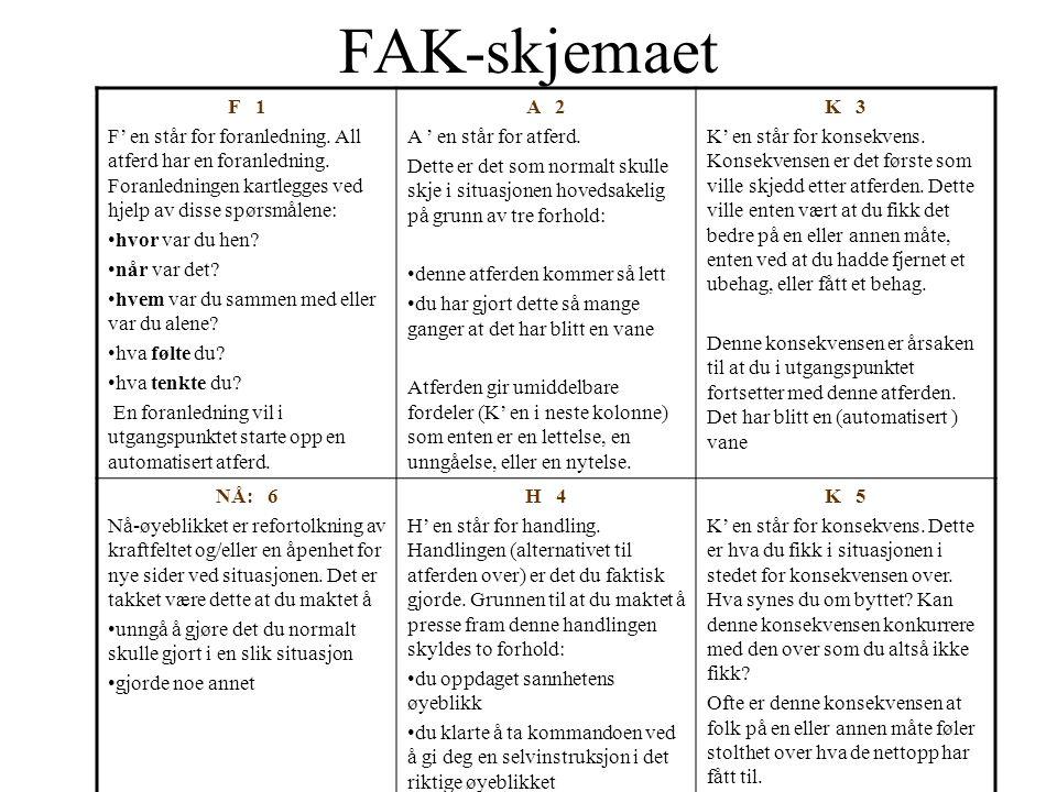 FAK-skjemaet F 1. F' en står for foranledning. All atferd har en foranledning. Foranledningen kartlegges ved hjelp av disse spørsmålene:
