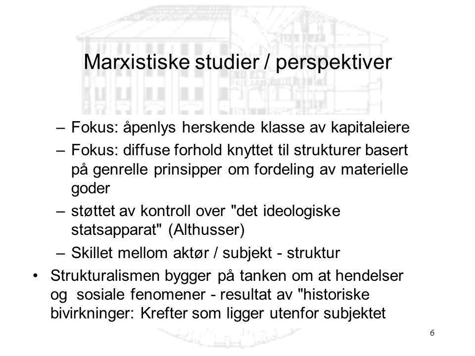Marxistiske studier / perspektiver