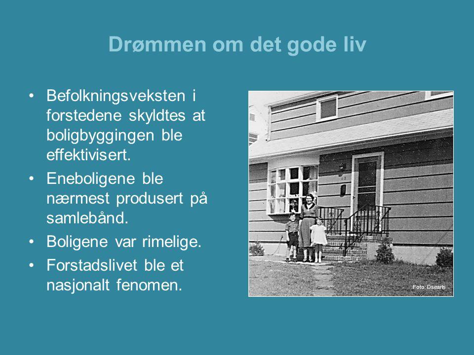 Drømmen om det gode liv Befolkningsveksten i forstedene skyldtes at boligbyggingen ble effektivisert.