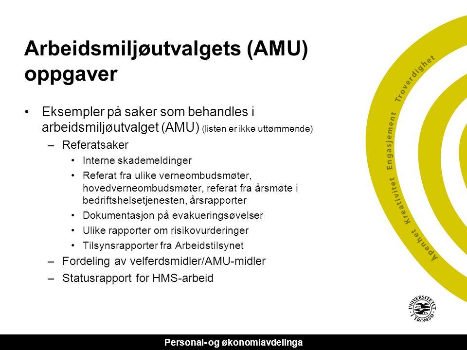 Arbeidsmiljøutvalgets (AMU) oppgaver