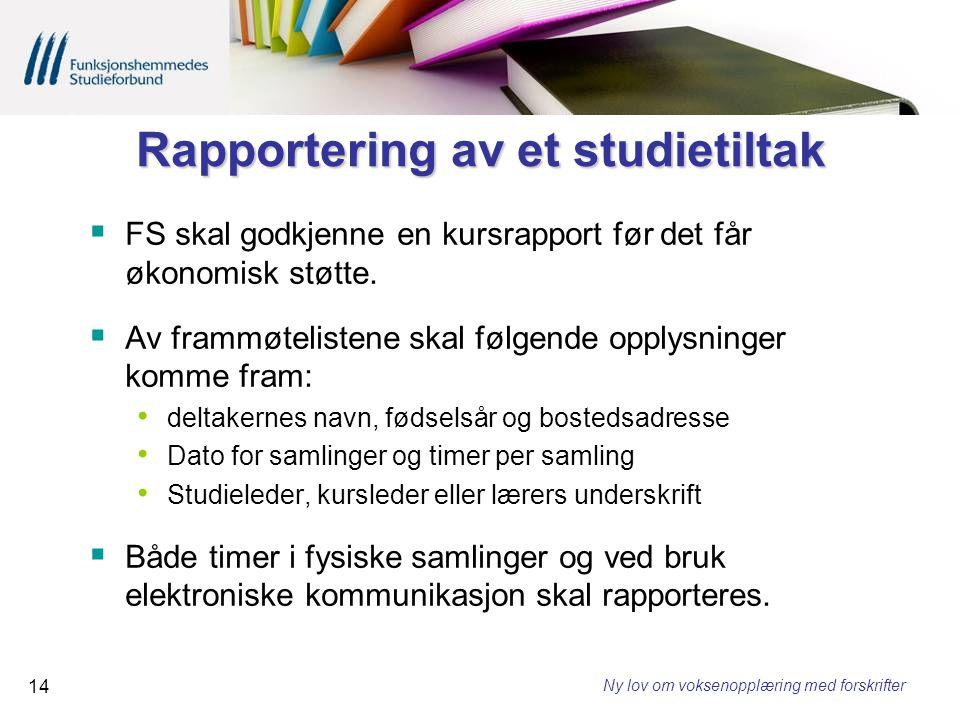 Rapportering av et studietiltak