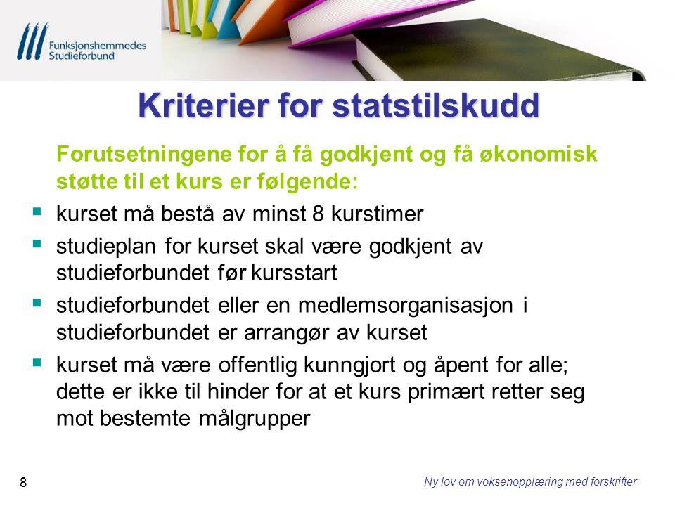 Kriterier for statstilskudd