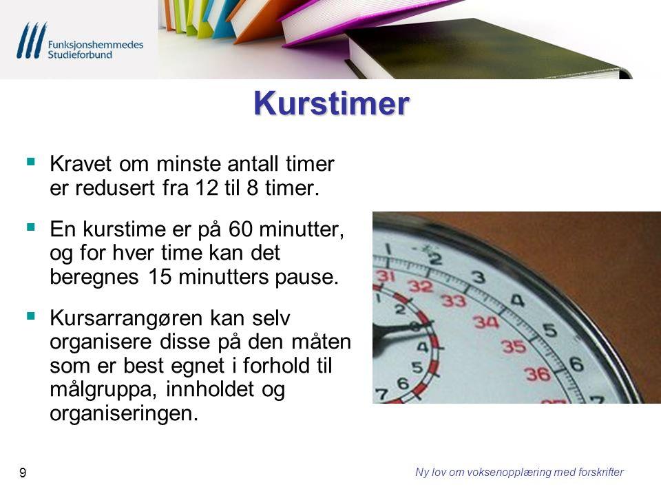 Kurstimer Kravet om minste antall timer er redusert fra 12 til 8 timer.
