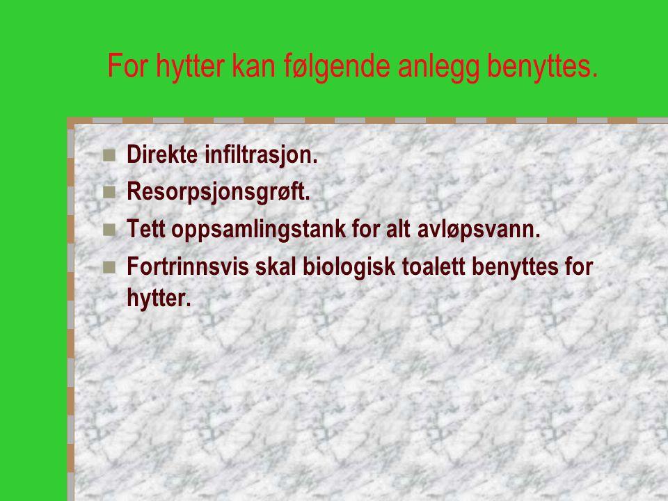 For hytter kan følgende anlegg benyttes.