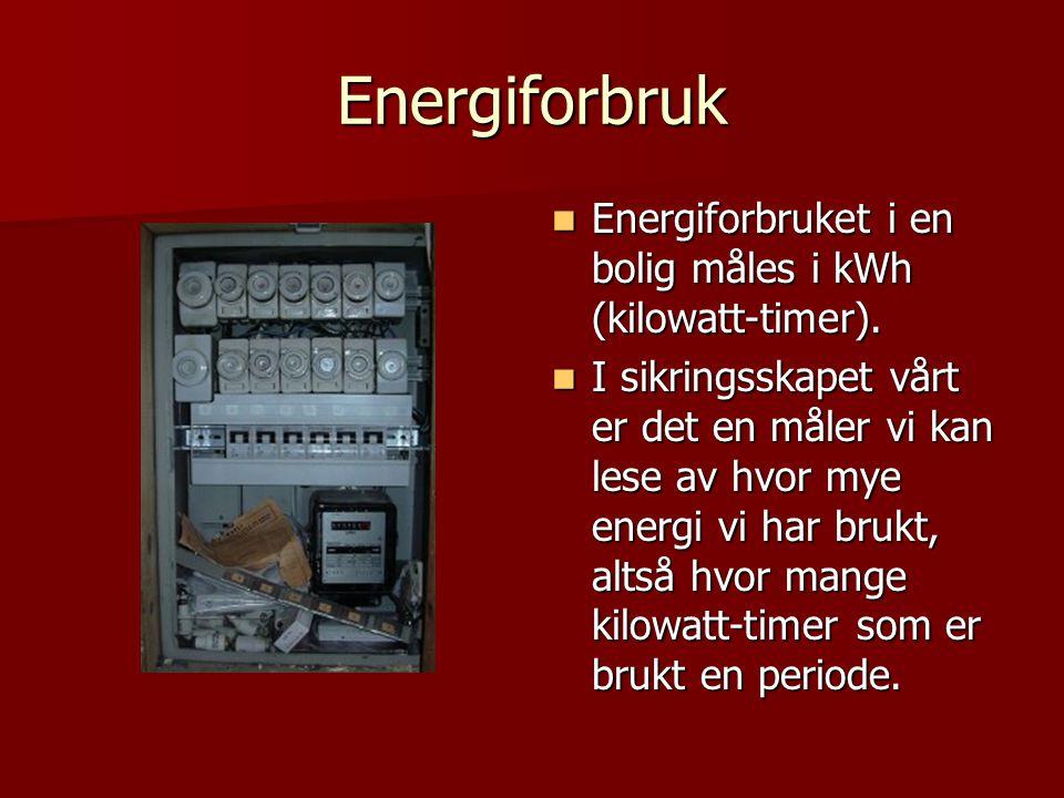 Energiforbruk Energiforbruket i en bolig måles i kWh (kilowatt-timer).